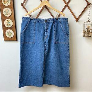 Vintage Denim Mid Length Skirt